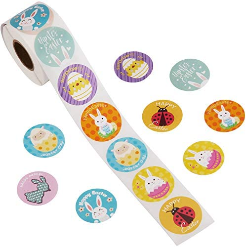 AIEX 500pcs 1 Roll Easter Sticker Roll Decorations Eggs Bunny Assorted Easter Theme Stickers product image
