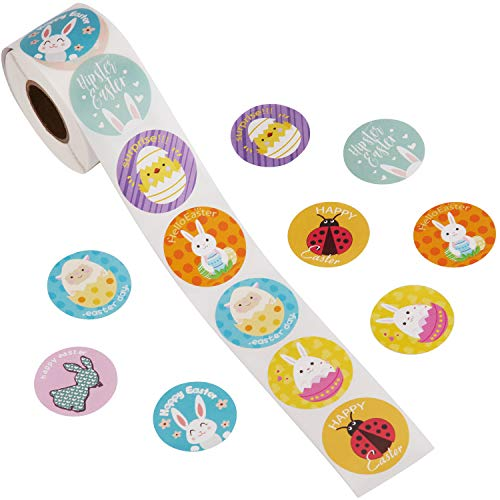 AIEX 500 stks 1 Roll Pasen Sticker Roll Decoraties Eieren Bunny Verschillende Pasen Thema Stickers Pasen Party Favors voor Kinderen, 8 Verschillende Patronen