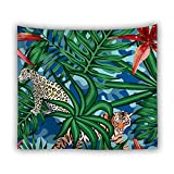 KHKJ Tapiz de Hojas Verdes en 3D Planta Tropical Colgante de Pared Casa de Campo Decoración del hogar Tapiz Mantel Colcha Tenture Alfombra A11 95x73cm