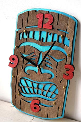 Tiki HANDCRAFTED wooden wall clock hawaiian style Maori mythology home decor for bedroom kitchen living room and office decoration art, original housewarming gift