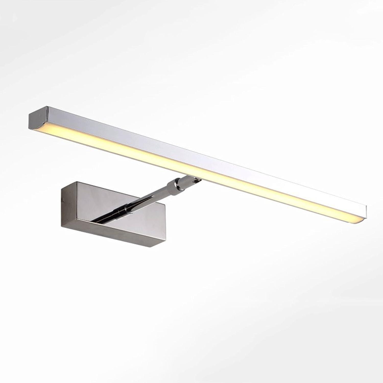 FAFZ LED-Edelstahl-Spiegel-Licht Modernes minimalistisches Badezimmer-Badezimmer-skalierbare Spiegel-Lichter, moderne einfache und einziehbare Badezimmer-Wand-Lampe ( Farbe   Warmwei-6w45cm )
