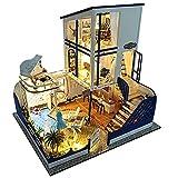 Aparador de maquillaje de espejo de glamour de niñ Diy House Starlight Waltz Manualmente ensamblado Villa Modelo Educativo Regalos creativos Regalos De madera DIY Dollhouse Mini Kit hecho a mano para