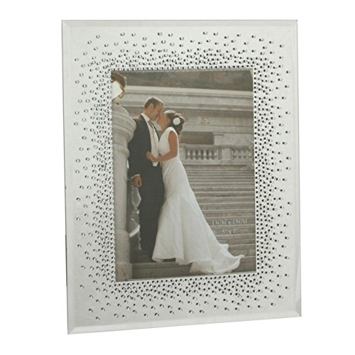 Hochzeits-Bilderrahmen aus Glas mit Diamanten, Spiegelrahmen, für Bilder der Größe 5 x 7 Zoll / 12 x 17 cm
