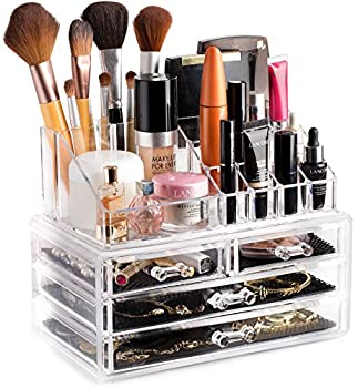 Clear Cosmetic Storage Organizer - Easily Organize Your Cosmetics Jewelry and Hair Accessories Looks Elegant Sitting on Your Vanity Bathroom Counter or Dresser Clear Design for Easy Visibility.