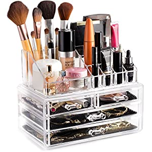 Beauty Shopping Clear Cosmetic Storage Organizer – Easily Organize Your Cosmetics, Jewelry and Hair Accessories. Looks Elegant Sitting…