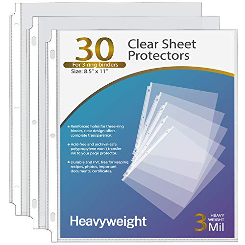 Ktrio Heavyweight 3 Mil Sheet Protectors 8.5 x 11 Inches, Clear Page Protectors for 3 Ring Binder, Plastic Sleeves for Binders, Top Loading Paper Protector Letter Size, 30 Pack