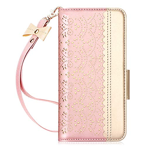 WWW Samsung Galaxy S20 Ultra Case 6.9',Galaxy S20 Ultra 5G Case, [Luxurious Romantic Carved Flower] Leather Wallet Case with [Makeup Mirror] [Kickstand] Galaxy S20 Ultra Wallet Case (2020)  Rose Gold
