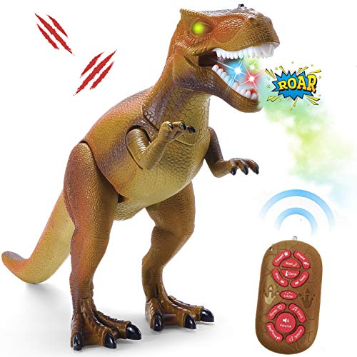 Liberty Imports Smoke Breathing Remote Control Tyrannosaurus Rex Kids RC Trex Dinosaur Figure Walking T-Rex Electronic Toy Action Robot with Moving Head, Lights, Roaring Sounds