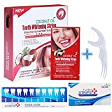 Teeth Whitening Strips Professional Activated Charcoal Powder Tooth Whitener Express Bleaching Effect with Dental Floss Picks Bonus Gift Kit (28pcs,14pack)