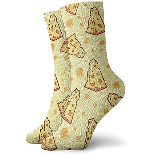 NA man en vrouw kaas eten kunst gedrukt grappige nieuwe nonchalante sokken