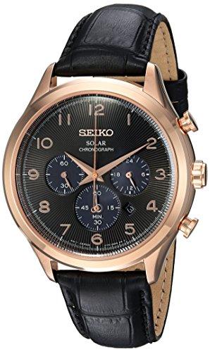 Seiko Men's Solar Chronograph Stainless Steel Japanese-Quartz Watch with Leather Calfskin Strap, Black, 21 (Model: SSC566)