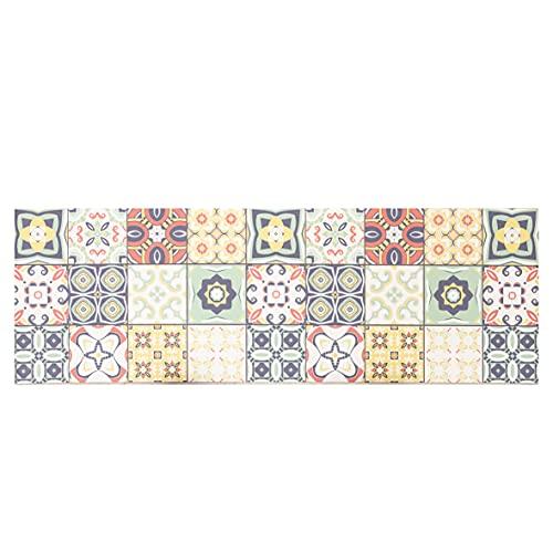 Baroni Tapis de cuisine en vinyle, motif carrelages multicolores, en PVC, antidérapant, pour intérieur et extérieur, 180 x 60 cm