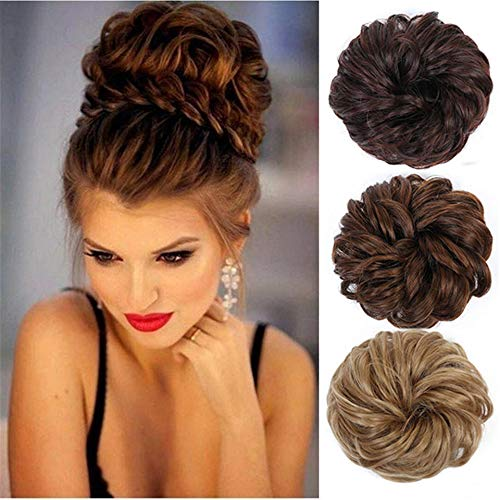 Hair Chignons Ponytail Extensions Scrunchy Scrunchie Bun Updo Hair Ribbon Ponytail Extensions Messy Curly Hair Bun Extensions Hair Piece Synthetic Chignon Hairpiece 2 Pieces Natural Black