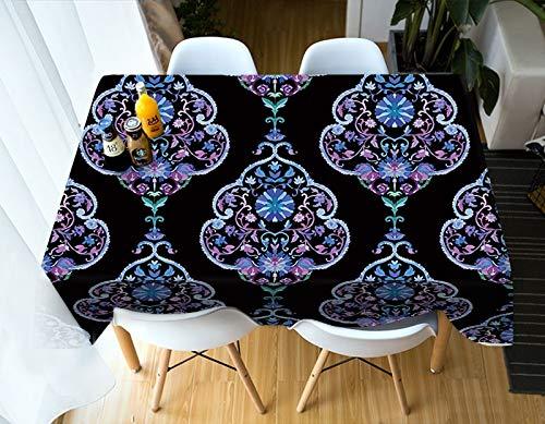Nappe Imprimée Minorités Bleu Plante Fleurs Motif Nappe Rectangulaire Couverture De Table en Coton Imperméable Variation A1