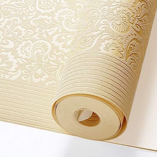 kengbi Haltbar und einfach Wallpaper Frame Installation Beige Gelb Embossed Texture Floral gestreifte Tapete Rolle for Wand-Schlafzimmer Modern Luxury Wand-Papier Wohnkultur Wohnzimmer