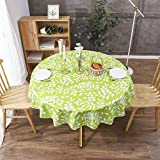 Vinyl Square or Rectangle or Round Tablecloth - Flannel Backed - Waterproof Wipeable Table Cloths Stain Resistant Table Cover for Kitchen Dining Patio Indoor and Outdoor (White and Green, 60' Round)