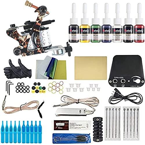 YLL Kit de Tatuaje Complete para Principiante,1 Maquina de Tatuaje Profesional Agujas Fuente de Alimentacion Foot Pedal Grips Accesorios para Tatuar TK121