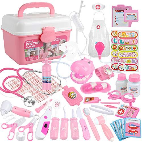 Anpro 46Stk Arztkoffer Medizinisches Spielzeug Rollenspiel Spielzeug Set, Arztkoffer Doktor Spielset Rollenspiel Kit Geschenke für Kinder (Rosa)
