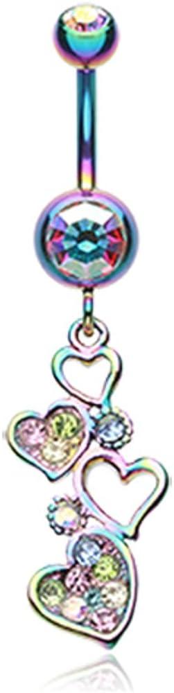 Rainbow Sparkling Heart Cluster WildKlass Belly Button Ring
