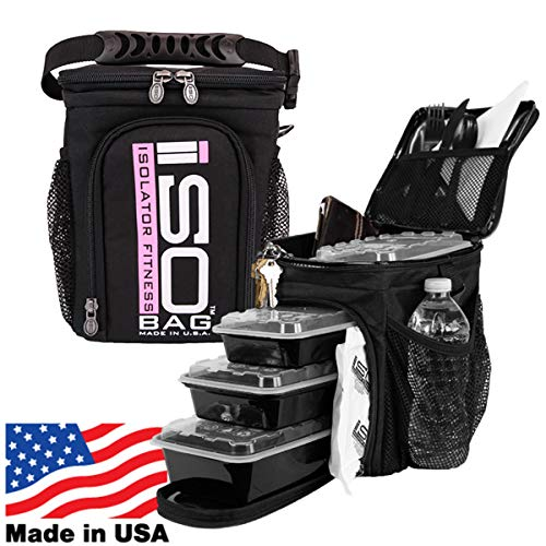 ISOCUBE 3 Meal Prep Management Insulated Lunch Bag Cooler with 6 Stackable Meal Prep Containers, 2 ISOBRICKS, and Shoulder Strap - MADE IN USA (Black/Pink Logo)