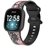 Glebo Compatibile con Fitbit Sense / Fitbit Versa 3, cinturino per orologio da polso da uomo e da donna, in morbido silicone, cinturino di ricambio per orologio Versa 3, accessorio medio/nero rosa