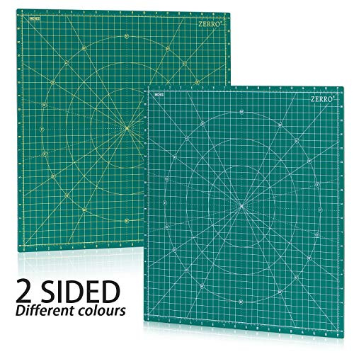 ZERRO Self Healing Rotary Cutting Mat Double Sided 5-Ply 18' x 18' (17' Grid) for Quilting, Sewing…