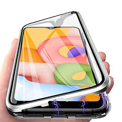 CaseLover - Funda para Samsung A40, funda para teléfono móvil Samsung Galaxy A40, protección completa 360, transparente, doble cara, de cristal endurecido, metal, color plateado