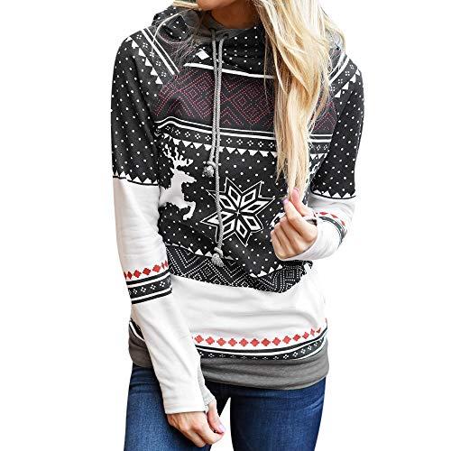 showsing-vrouwen kleding Womens Kerstmis Dots Elk Sneeuwvlok Print Sweatshirt Tops=Dames Lange Mouw Hooded Pullover Jumper Blouse Shirt