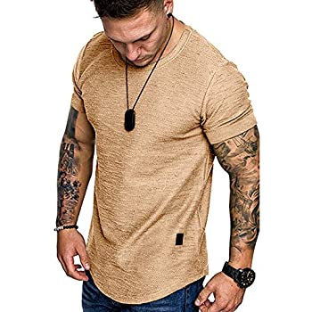 Fashion Mens T Shirt Muscle Gym Workout Athletic Shirt Cotton Tee Shirt Top Khaki