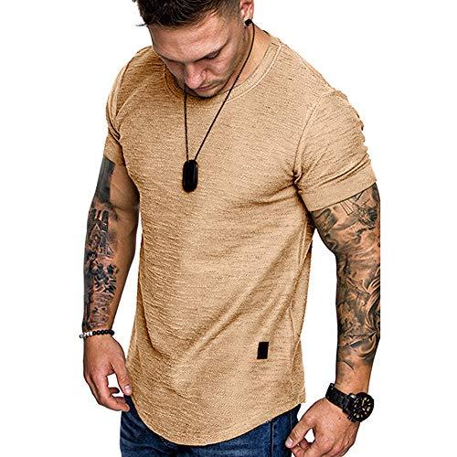 Fashion Mens T Shirt Muscle Gym Workout Athletic Shirt Cotton Tee Shirt Top, Khaki