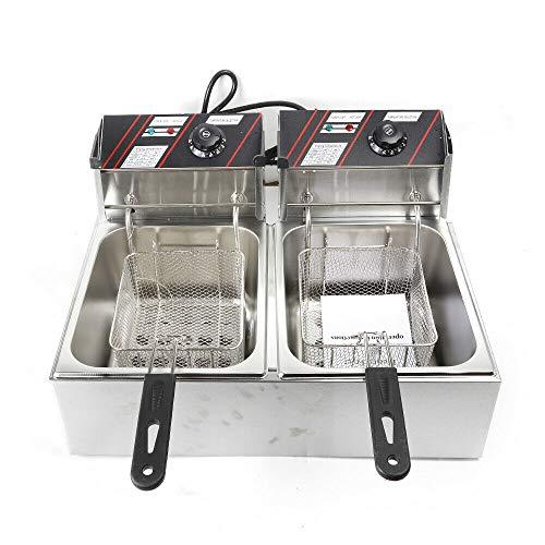 Fritteuse Edelstahl Einzylinder 12 Liter Fritteuse Elektrische Friteuse ist langlebig für den privaten und gewerblichen Gebrauch, 60 ° C - 200 ° C