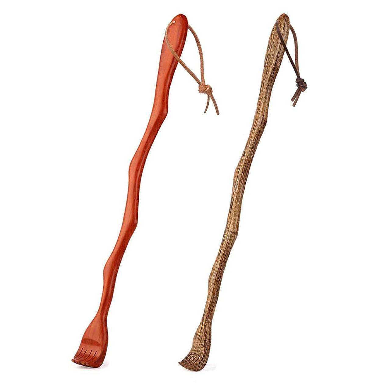 登録肉のコロニアルバックスクラッチャー、2バックスクラッチャーウッドバックマッサージャーハンドヘルド46.5cm / 18.3