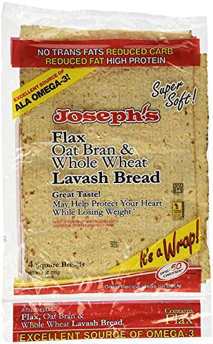 Joseph's Lavash Bread Flax Oat Bran & Whole Wheat Reduced Carb - 4 Square Breads - PACK OF 2