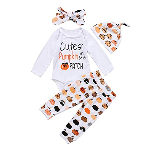 3Pcs Cute Infant Baby Girl Boy Halloween Clothes Pumpkin Romper with Hat and Long Pants Outfits Set (0-6 Months, White-Halloween)