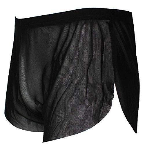 YiZYiF Men's Mesh Boxer Briefs Underwear Transparent Shorts Black X-Large