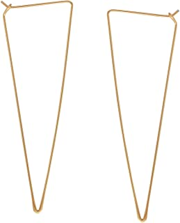 Lightweight Threader Big Hoop Earrings - Hypoallergenic Geometric Thin Wire Loop Drop Dangles, Plated in 925 Sterling Silver or 18k Gold, by Humble Chic NY