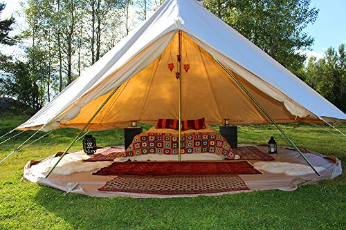 Dream House Outdoor Waterproof Cotton Canvas Family Camping Bell Tent (Beige Cotton Canvas Tent, Diameter 4 Meter)