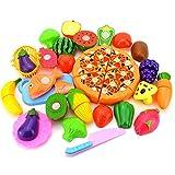 Ruby569y Juguetes de juego de simulación, 24 unids/set de frutas vegetales pizza preescolar niño juego de rol cocina corte juguete regalo