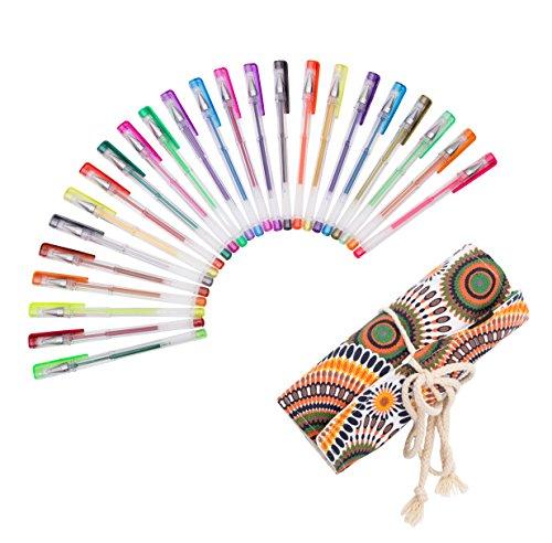 Exerz EXGL24A 24 STK farbige gel Stifte im Stoffbündel – Rolltasche, feine Tinten-Kugelschreiber, kräftige Farben, leichter Fluss, enthält Glitzerfarben, neon, metallic und glitzer neon Farben - Kreis
