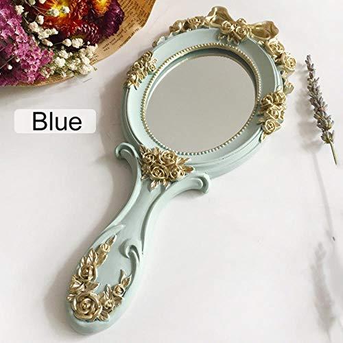 Miroir Rectangle Holding Maquillage Main avec Miroir poignée Maquillage créatif Joli Maquillage Miroir à Main en Bois,Blue