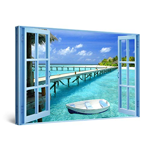 Startonight Bilder Das Fenster zum Wasser Paradies, Leinwandbilder Moderne Kunst, Landschaft Wanddeko Kunstdrucke, Wandbilder 60 x 90 cm, Tag Nacht Bild