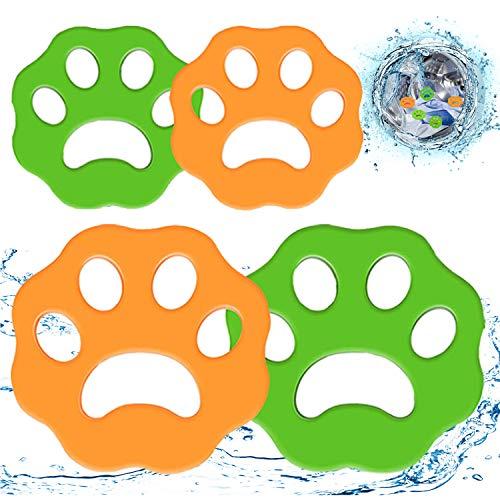 WELLXUNK Depiladora de Mascotas, Atrapa Pelos Lavadora, Quitapelos Mascotas, Filtros de Pelusa de Reutilizables para Pelo de Perro, Piel de Gato y Todas Las Mascotas (4 Piezas)