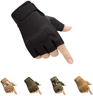 HYCOPROT Fingerless Tactical Gloves, Knuckle Protective...