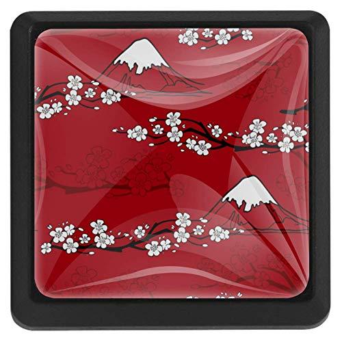 EZIOLY Pomos cuadrados de cocina japoneses con patrón de flores para gabinetes de armario, aparador, tiradores de cajón, 3 piezas
