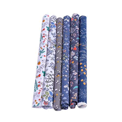 SUPVOX 6pcs Floral Cotton Quilting Fabric Patchwork DIY Flower Pattern Fabric Quilt Squares for DIY Craft Sewing Quilting Scrapbooking