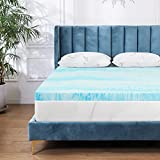 Mattress Topper for Twin Bed, POLAR SLEEP Gel Swirl Memory Foam Soft Bed Topper for Back Pain, 2 inch, Light Blue
