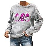 Auifor impresión de Las Mujeres de Cuello Redondo de Navidad Ronda de Manga Larga Cuello de Camisa de Manga Larga con Capucha de algodón Informal(Rosa Fuerte/XX-Large)