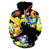 cshsb Unisexo Sudaderas con Capucha 3D Impresa Patrón de DJ Manga Larga Colorida Novedad Hoodie Suéter Deporte Capucha,A,XXS-XS