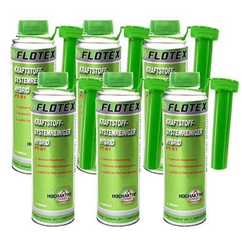 Flotex Kraftstoffsystemreiniger Hybrid, 6 x 250ml Additiv beseitigt Verschmutzungen im Hybridfahrzeug Motor