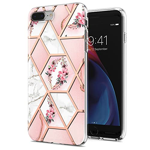 Rosado Mármol Funda Floral para iPhone 7 Plus/8 Plus Cover Flor geométrica Femenina Resistente Elegante Cubierta Teléfono móvil Duro Protector parachoque antirraya Carcasa para Mujer Chicas